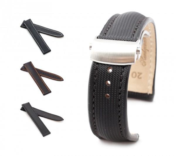 BOB Faltschließband Marino Nytech kompatibel Omega, 20-22 mm, schwarz, neu!