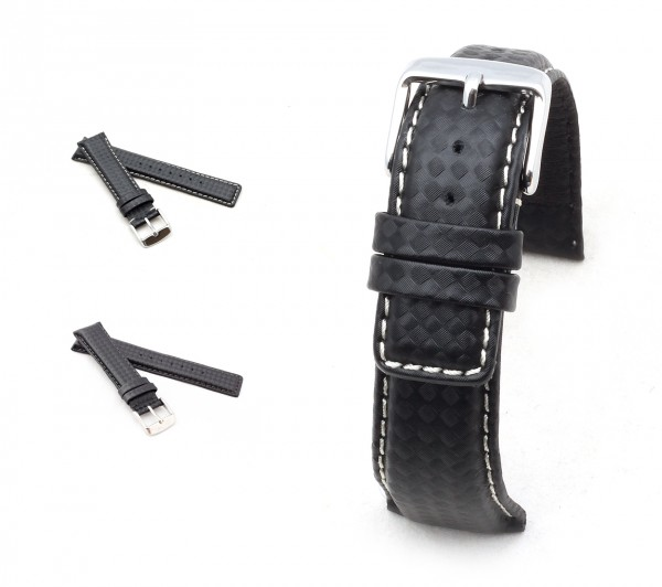 "BOB Carbon Style Watch Band, Model ""Classic"", 20-22 mm, black, new!"