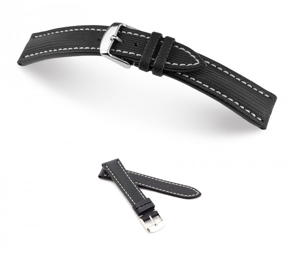 "RIOS1931 Genuine Nytech Watch Band ""Bass"", 18-24 mm, black, new!"