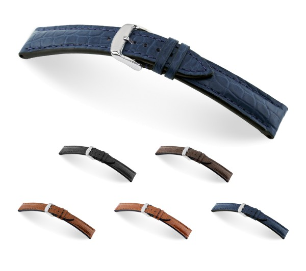 """RIOS1931 Genuine Alligator Watch Band """"Superior"""", 18-22 mm, 5 colors, new!"""