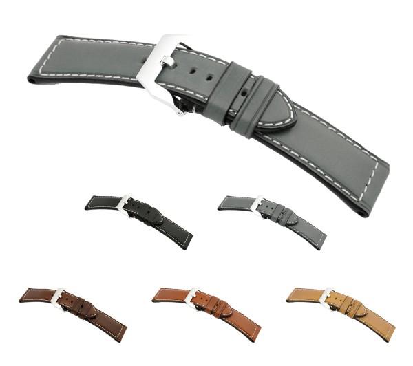 """RIOS1931 XL Juchten Leather Watch Band """"Firenze"""", 22-26 mm, 5 colors, new!"""