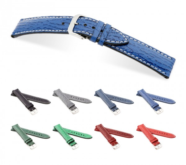 "RIOS1931 Shark Leather Watch Band ""Wave"", 18-22 mm, 8 colors, new!"