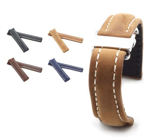 BOB Faltschließband Wildleder kompatibel Breitling, 20-24 mm, 4 Farben, neu!