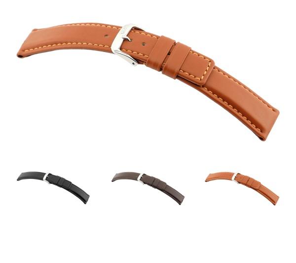 """RIOS1931 Uhrenarmband Rindsleder """"Solid"""", 18-22 mm, 3 Farben, neu!"""