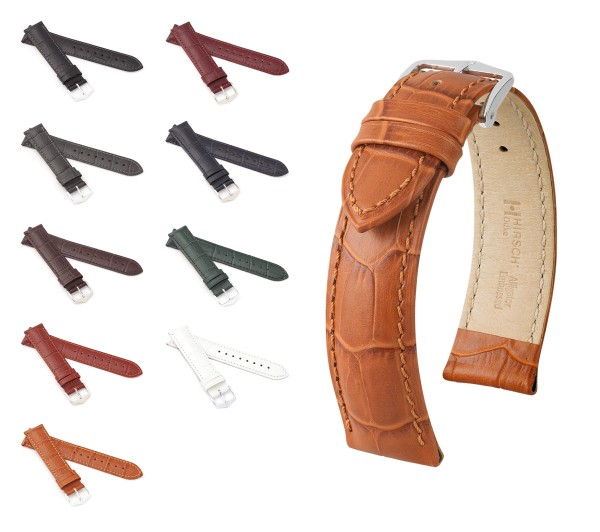 "HIRSCH Alligator Style Watch Band ""Duke"", 18-24 mm, 9 colors, new!"