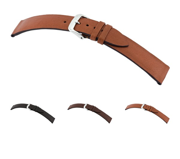 """RIOS1931 Organic Leather Watch Band """"Kempten"""", 16-20 mm, 3 colors, new!"""