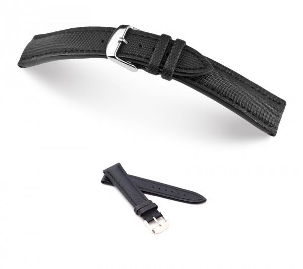 """RIOS1931 Uhrenarmband Echt Nytech """"Just"""", 18-24 mm, schwarz, neu!"""
