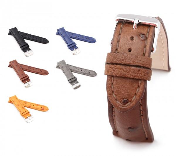 """BOB Uhrenarmband Straußenleder, Modell """"Basic"""", 18-24 mm, 5 Farben, neu!"""