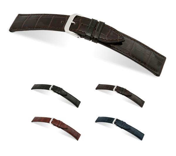 "RIOS1931 Uhrenarmband Echt Alligator ""Premier"", 18-20 mm, 4 Farben, neu!"