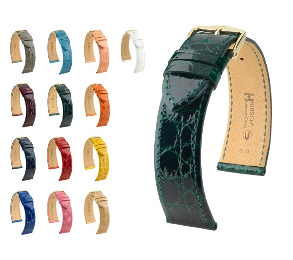 "HIRSCH XS Selection Genuine Crocodile Watch Band ""Genuine Croco"", 12-18 mm, 13 colors, new!"