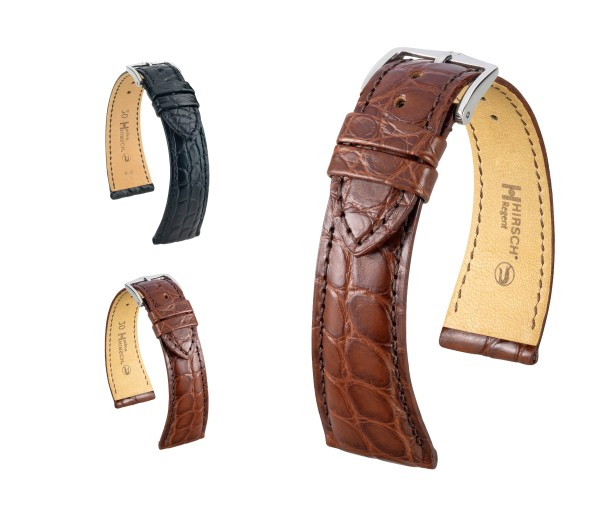 "HIRSCH XS Louisiana Alligator Watch Band ""Regent"", 16-20 mm, 2 colors, new!"