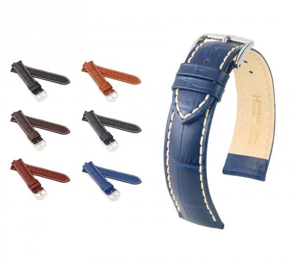 "HIRSCH Alligator Style Uhrenarmband ""Modena"", 18-24 mm, 6 Farben, neu!"