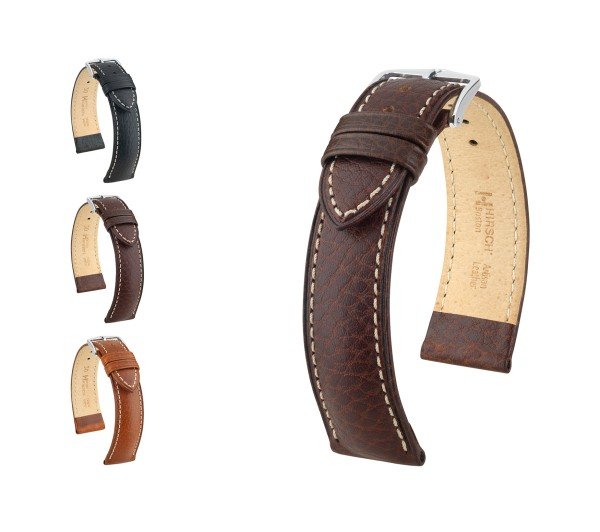 "HIRSCH Buffalo Calfskin Watch Band ""Boston"", 18-24 mm, 3 colors, new!"