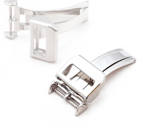 "Faltschließe für Uhrenarmbänder, Modell ""Aviation"", 18 mm, silberfarben, neu!"