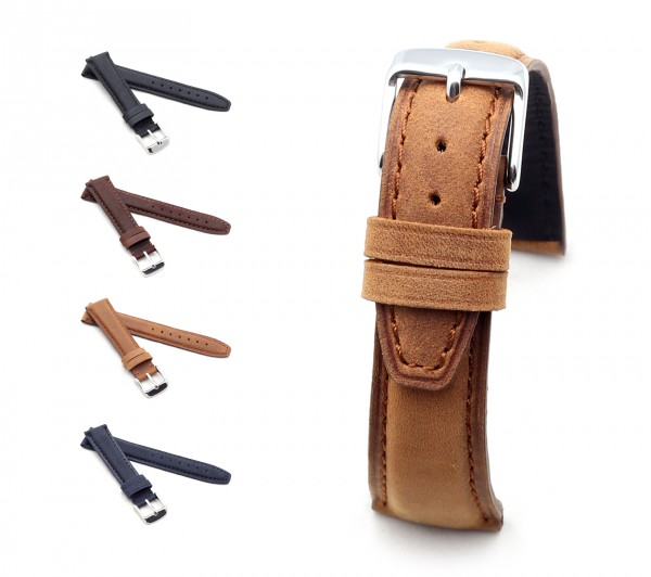"BOB Genuine Suede Watch Band, Model ""Classic"", 18-19 mm, 4 colors, new!"