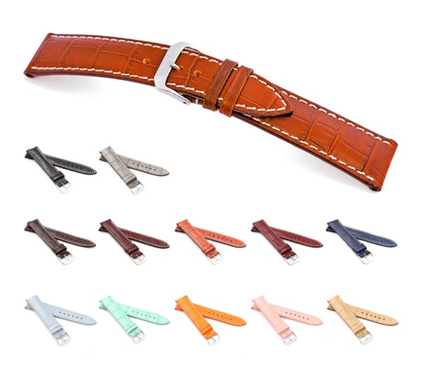 """RIOS1931 XL Alligator Style Watch Band """"New Orleans"""", 16-22 mm, 12 colors, new!"""
