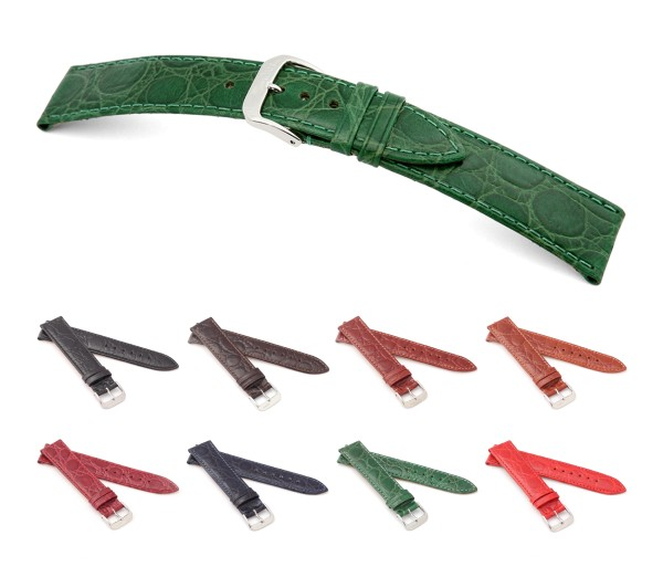 "RIOS1931 Crocodile Style Watch Band ""Brazil"", 16-22 mm, 8 colors, new!"
