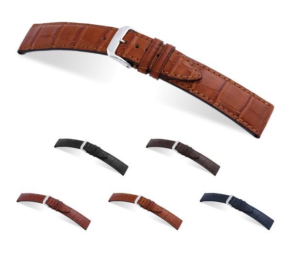 "RIOS1931 Genuine Alligator Watch Band ""Senator"", 18-21 mm, 5 colors, new!"