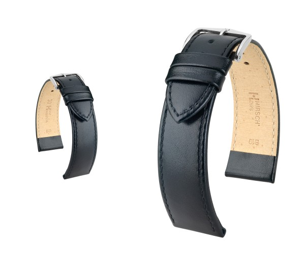 "HIRSCH XL Box Leather Watch Band ""Osiris"", 18-20 mm, black, new!"