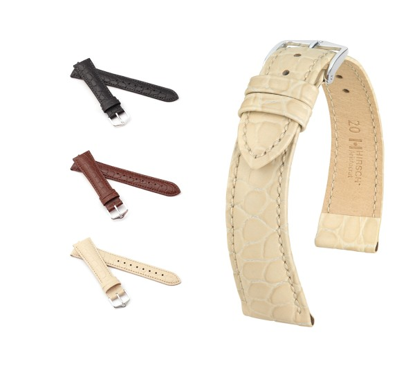 """HIRSCH XS Crocodile Style Watch Band """"Aristocrat"""", 16 mm, 3 colors, new!"""