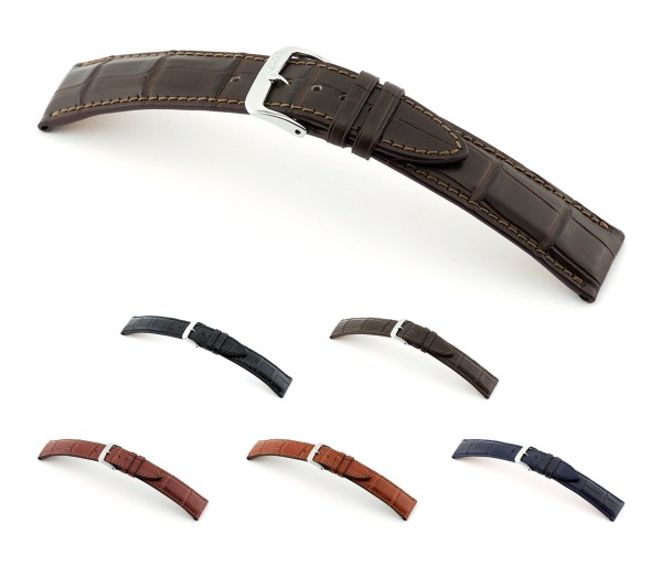 """RIOS1931 Genuine Alligator Watch Band """"Imperator"""", 18-22 mm, 5 colors, new!"""