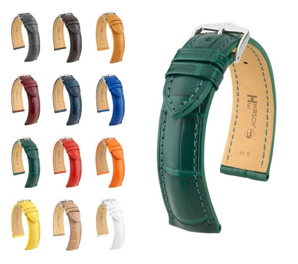"HIRSCH Selection Louisiana Alligator Watch Band ""Earl"", 18-24 mm, 12 colors, new!"