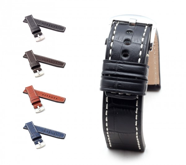 "BOB Marino Alligator Watch Band, Model ""Firenze"", 22/22 mm, 4 color, new!"