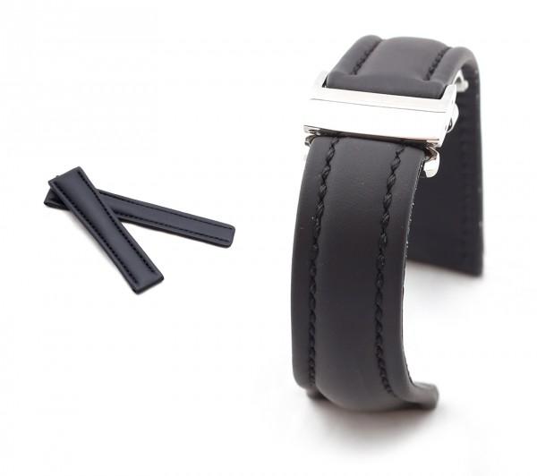 BOB Faltschließband Hydro Kalb kompatibel Breitling, 20-22 mm, schwarz, neu!
