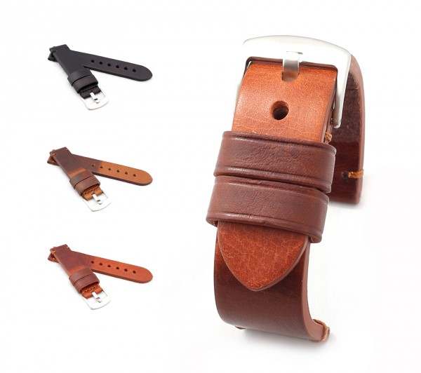 "BOB Cowhide Watch Band, Model ""Basic"", 18-24 mm, 3 colors, new!"
