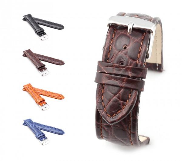 "BOB Uhrenarmband Krokodil Style, Modell ""Basic"", 18-24 mm, 4 Farben, neu!"
