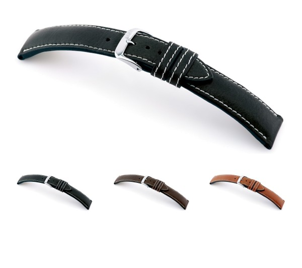 """RIOS1931 Organic Leather Watch Band """"Weilheim"""", 18-22 mm, 3 colors, new!"""