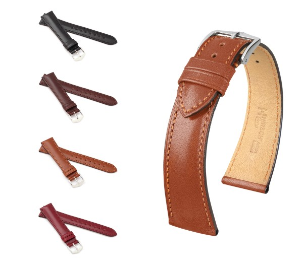 """HIRSCH Natural Calfskin Watch Band """"Siena"""", 18-20 mm, 4 colors, new!"""