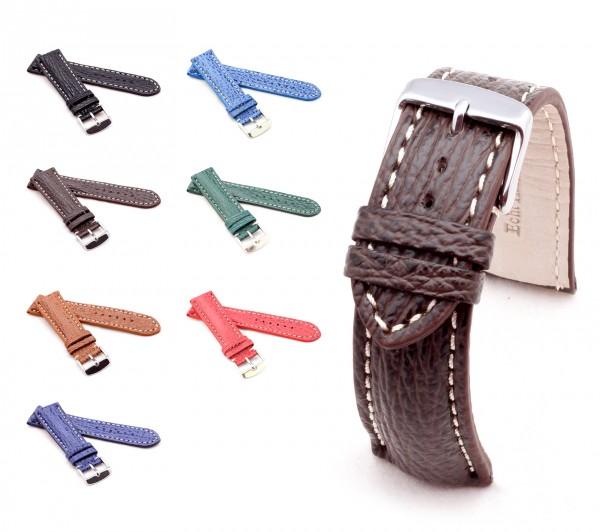"BOB Shark Leather Watch Band, Model ""Chrono"", 18-24 mm, 7 colors, new!"