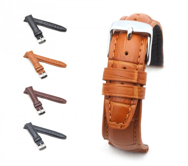 "BOB Uhrenarmband Alligator Style, Modell ""Klassik"", 18-19 mm, 4 Farben, neu!"