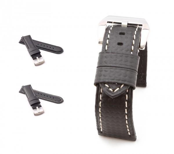 "BOB Uhrenarmband Karbon Style, Modell ""Firenze"", 24/22 mm, schwarz, neu!"