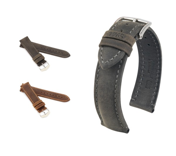 "HIRSCH Natural Calfskin Watch Band ""Heritage"", 20-24 mm, 2 colors, new!"