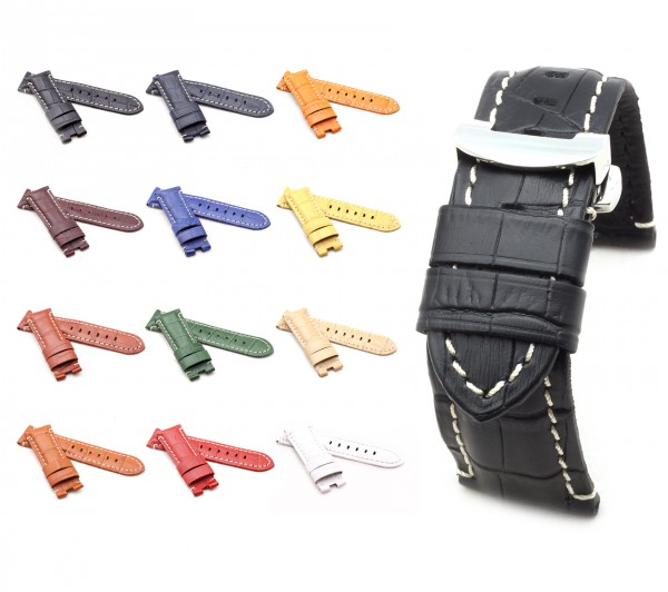BOB Alligator Style Deployment Strap for Panerai, 24/22 mm, 12 colors, new!
