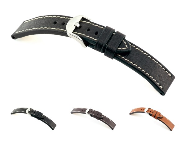 """RIOS1931 Organic Leather Watch Band """"Starnberg"""", 20-24 mm, 3 colors, new!"""