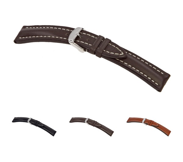 """RIOS1931 Juchten Leather Watch Band """"Tornado"""", 20-24 mm, 3 colors, new!"""