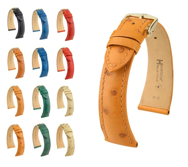 "HIRSCH Selection Ostrich Leather Watch Band ""Massai"", 18-22 mm, 7 colors, new!"