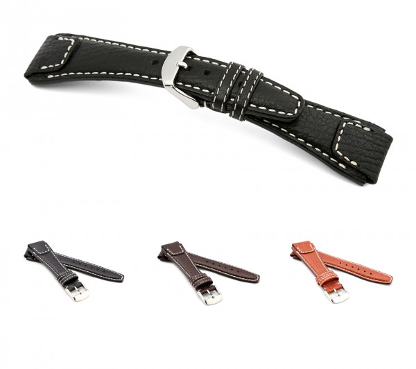 "RIOS1931 Buffalo Leather Watch Band ""Nature"", 18-22 mm, 3 colors, new!"