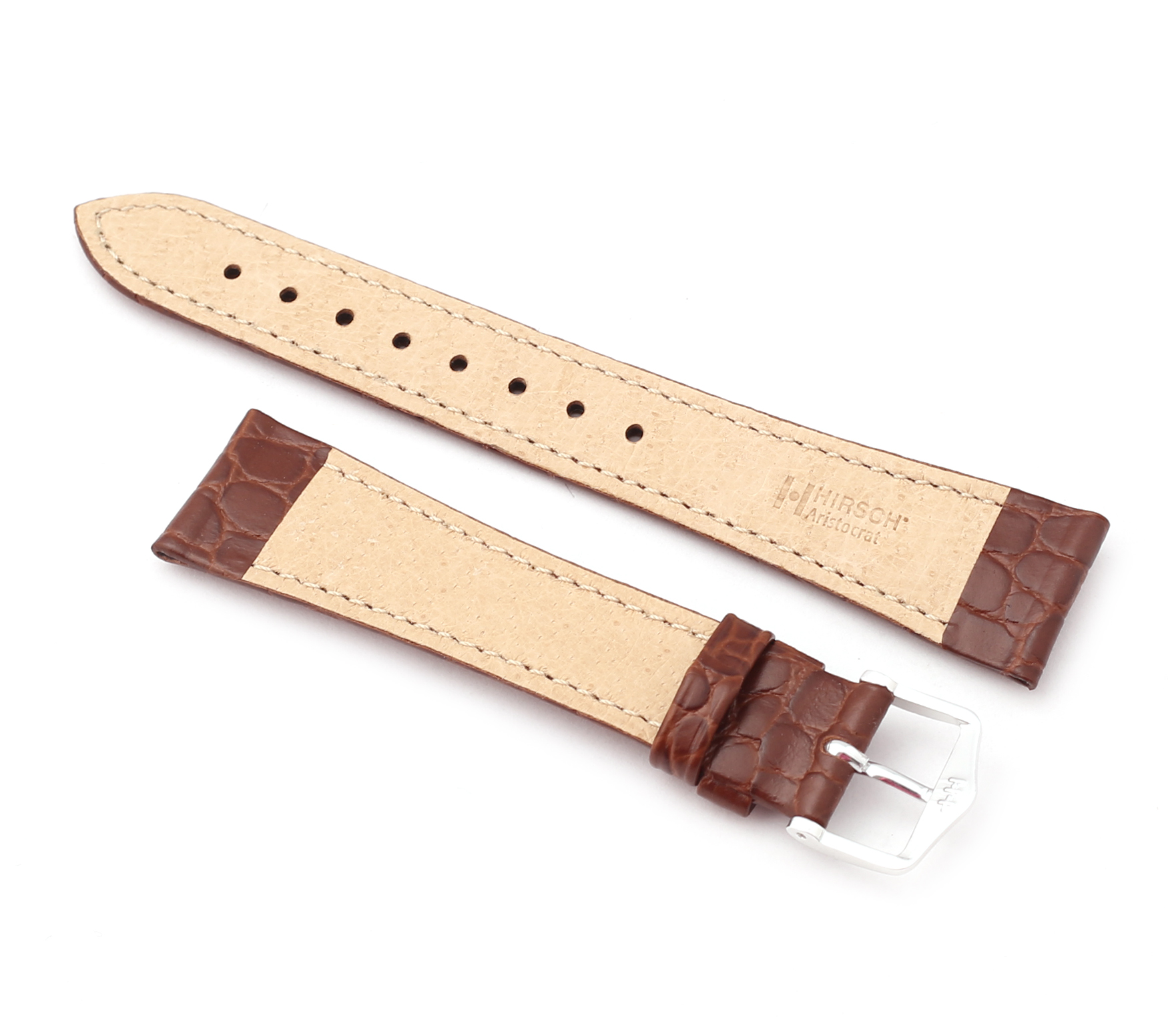 Leather Calf Non Padded Lizard Embossed Brown Strap 22 millimeters