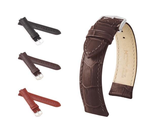 "HIRSCH XL Alligator Style Watch Band ""Duke"", 16-24 mm, 3 colors, new!"