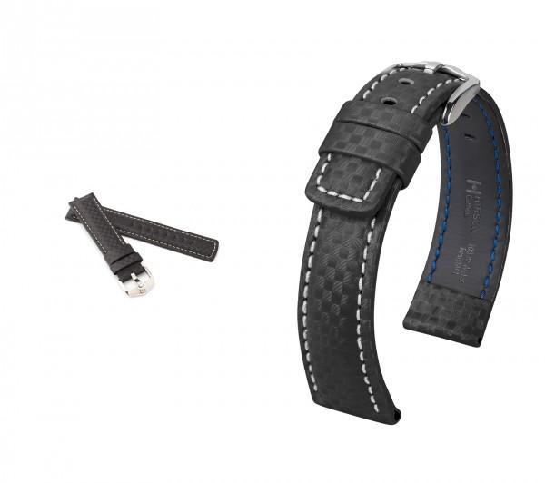"HIRSCH XL Uhrenarmband Karbon Style ""Carbon"", 20-22 mm, schwarz, neu!"