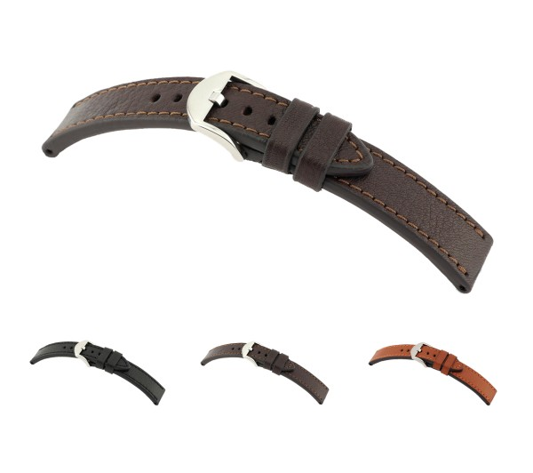 """RIOS1931 Organic Leather Watch Band """"Tegernsee"""", 20-24 mm, 3 colors, new!"""