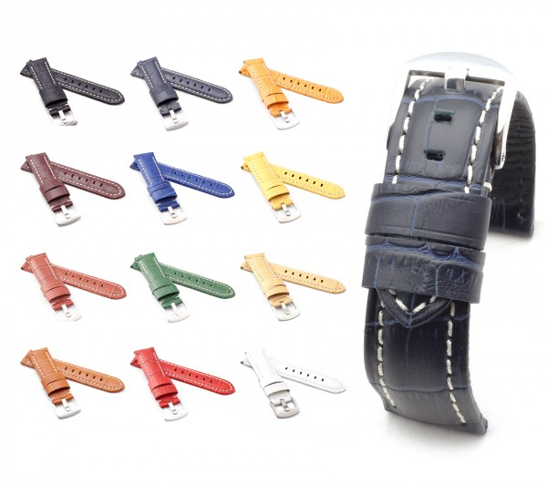"BOB Alligator Style Watch Band, Model ""Firenze"", 22/20 mm, 12 colors, new!"