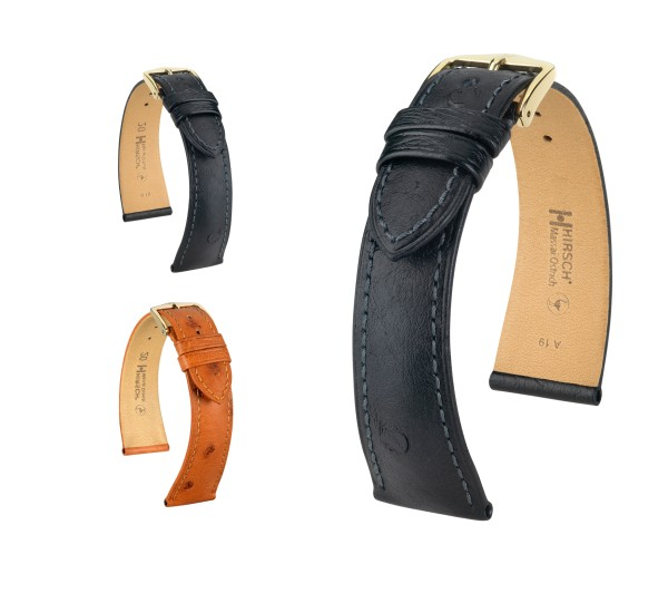 "HIRSCH Ostrich Leather Watch Band ""Massai"", 17-22 mm, 2 colors, new!"