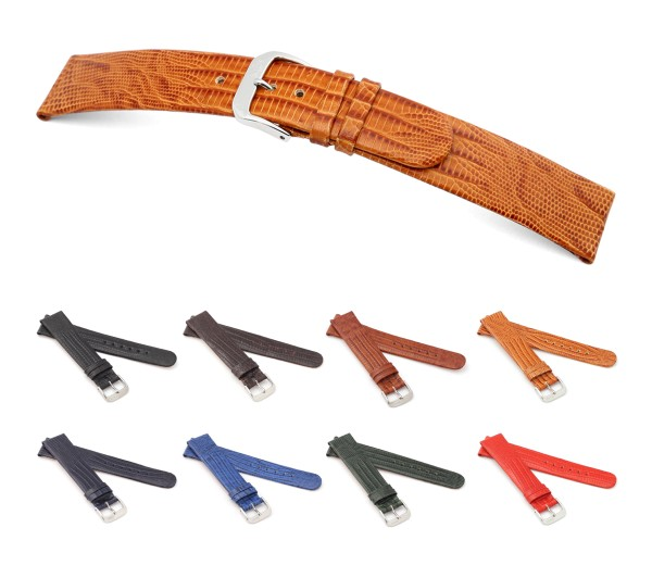 "RIOS1931 Teju Lizard Style Watch Band ""Bolivia"", 16-20 mm, 8 colors, new!"