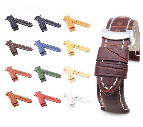 BOB Faltschließband Alligator Style kompatibel Panerai, 22/20 mm, 12 Farben, neu!
