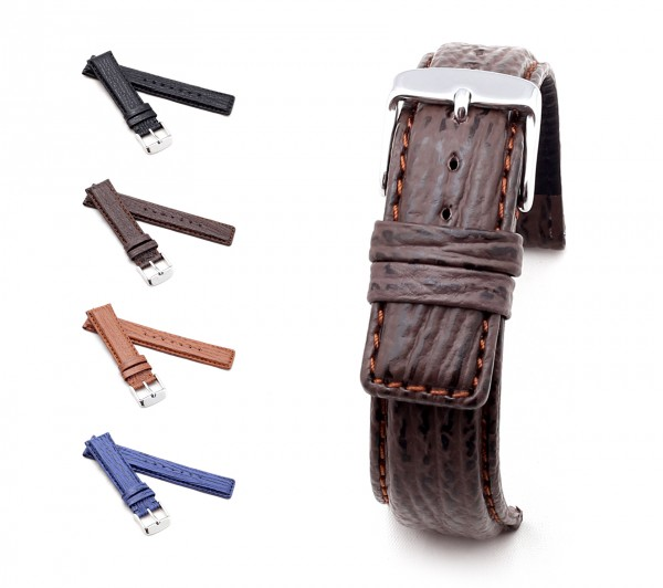 "BOB Shark Leather Watch Band, Model ""Classic"", 20-22 mm, 4 colors, new!"